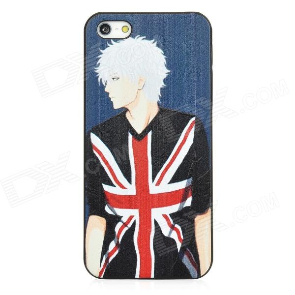 Relief English Boy Style Protective Plastic Back Case for Iphone 5 - Black + White + Red цена