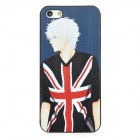 Relief English Boy Style Protective Plastic Back Case for iPhone 5 - Black + White + Red