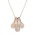 KCCHSTAR BK-6120 18K Alloy Plating Pine Cone Pendant Artificial Fancy Crystal Diamond Necklace