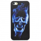 Relief Skull Style Protective PC Back Case for Iphone 5 - Black + Blue