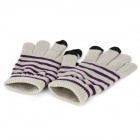 Universal Capacitive Touch Screen Warm Gloves - Grey + Black + Purple (Pair)