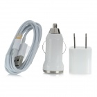3-in-1 Power Charging Adapter + Car Charger + USB Cable for iPhone 5 - White (US Plug)