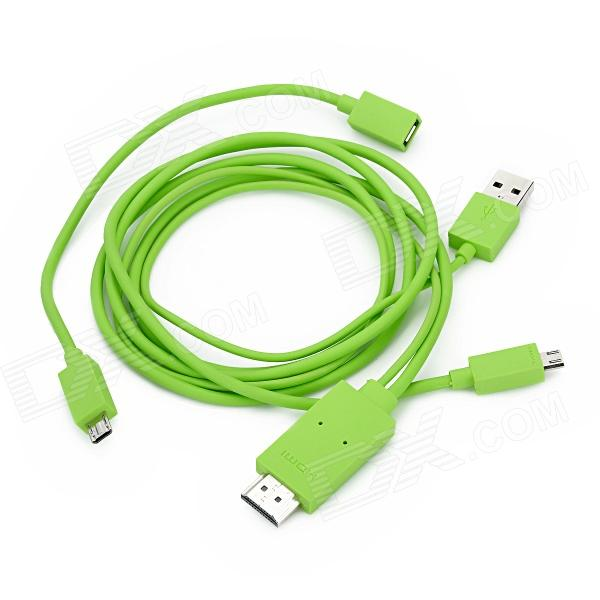 HDMI Male to USB / MHL Male Cable w/ Adapter Cable for Samsung / LG / HTC - Green (65cm/115cm)