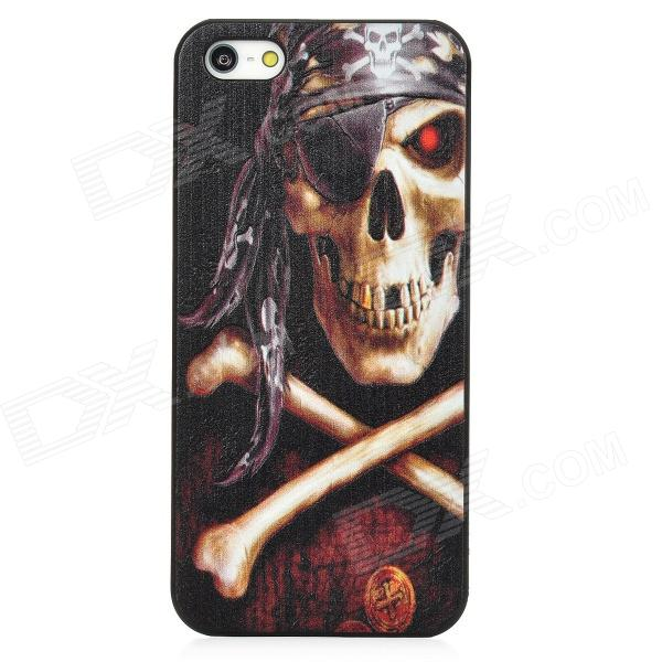 Relief One-Eyed Pirate Skull Style Protective PC Back Case for Iphone 5 - Black wc king cool man relief style protective pc back case for iphone 4 iphone 4s black