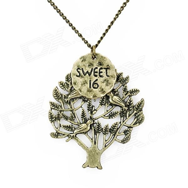 Retro Tree Style Decorative Alloy Necklace w/ Pendant - Bronze old antique bronze doctor who theme quartz pendant pocket watch with chain necklace free shipping