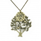Retro Tree Style Decorative Alloy Necklace w/ Pendant - Bronze