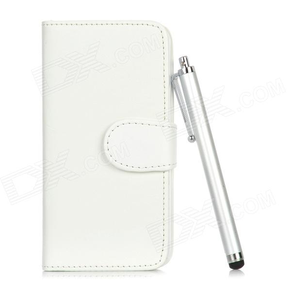 Protective PU Leather Flip-Open Case w/ Stylus Pen for Iphone 5 - White protective pu leather flip open case w card slots stylus pen for iphone 5 blue