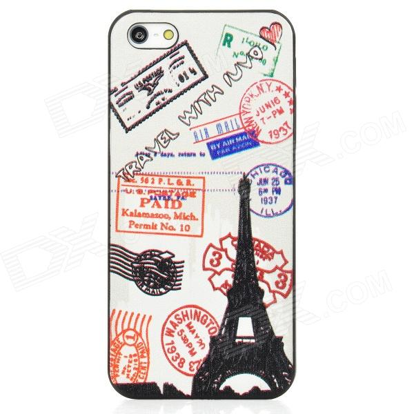 Relief Stamps Style Protective Plastic Back Case for Iphone 5 - Black + White + Red цена