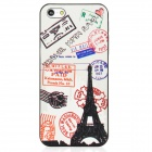 Relief Stamps Style Protective Plastic Back Case for Iphone 5 - Black + White + Red