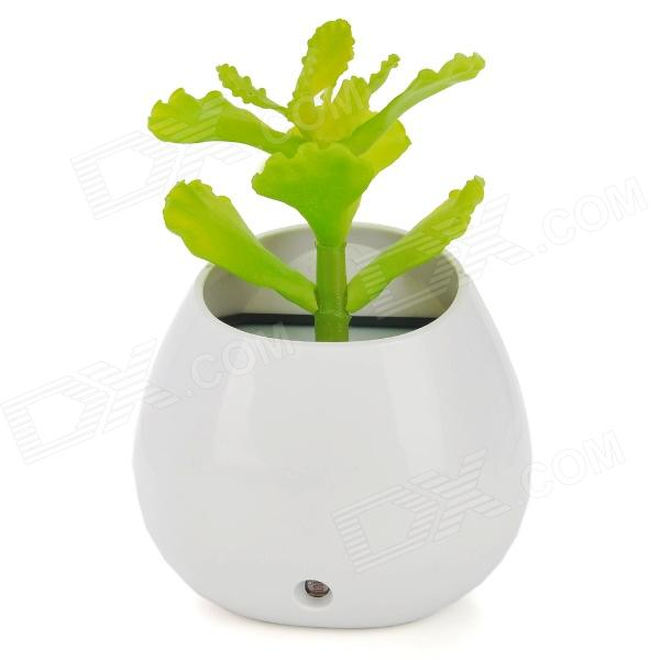 BZ011 Simulation Desmodium Bonsai Light Activated White + Colorful LED Lamp - White + Green