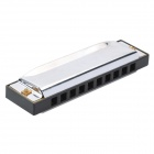 10-Hole C-Key Blues Harp Harmonica - Black + Silver + Golden