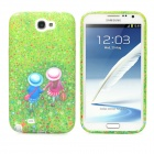 Stylish Nature Outing Pattern Silicone Back Case for Samsung N7100 - Multicolored