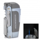 MHQ003 Multifunction Wine / Beer Opener + Knife + Windproof Butane Lighter - Silver + Dark Grey