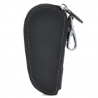 608 Genuine Leather Key Case Holder w/ Zipper - Black (5~6 Keys)