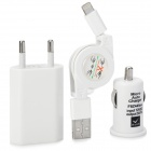 Car Cigarette Lighting Charger + Expansive Cable + EU Plug Charger for iPhone 5 - White