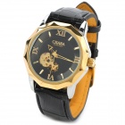 CJIABA GK8001-B PU Leather Band Skeleton Analog Mechanical Wrist Watch for Men - Black + Golden