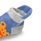 Cute Ear Style Baby Anti-Slip Cotton + Polyester Socks - Blue + Orange (Pair)