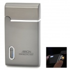 Portable Stainless Steel Windproof Butane Lighter w/ PU leather Case - Deep Grey