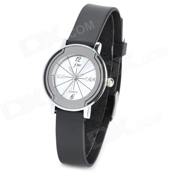 Elegant Rubber Band Analog Quartz Wrist Watch for Couple - Black + White (Pair) keep in touch couple watches for lovers luminous luxury quartz men and women lover watch fashion calendar dress wristwatches