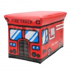 HappyFish Folding Fire Truck Style Padded Seat Stool Toys Storage Box Case for Kids - Red (Size M)