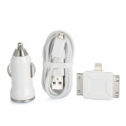 P-301 Car Cigarette Charger + USB Data Cable + 3-in-1 Charging Adapter for iPhone + Samsung - White