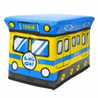 HappyFish Folding Train Style Padded Seat Stool Toys Storage Box for Kids - Yellow + Blue (Size S)