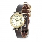 Fashion Rose PU Leather Band Analog Quartz Wrist Watch for Women - Brown