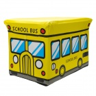 HappyFish Folding School Bus Style Padded Seat Stool Toys Storage Box for Kids - Yellow (Size L)