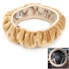 CHIEF JPNF-007 Elastic Protective Plush Steering Wheel Cover - Beige