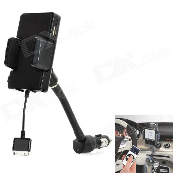 """1.2"""" LCD Car Charging FM Transmitter w/ Remote Controller for iPhone 4 / 4S / 3GS / 3G - Black"""
