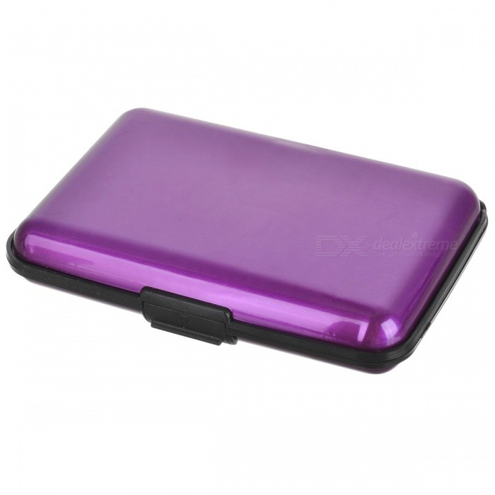 Stripe Pattern Portable Aluminum Name / Credit / Debit Card Case w/ 7-Slot - Purple + Black