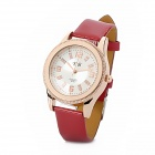 YB 791 Artificial Leather Band Analog Quartz Wrist Watch for Women - Red + Golden