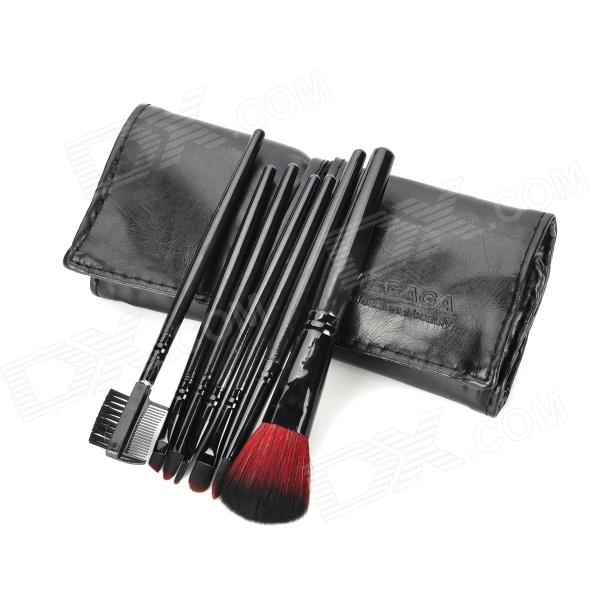 MEGAGA 278-5# Professional 7-in-1 Cosmetic Makeup Brush Set w/ PU Case - Black