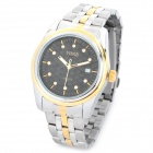 MIKE 305 Stainless Steel Band Analog Quartz Wrist Watch - Black + Silver + Golden (1 x 377)