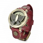 FG-1013R Butterfly Retro PU Leather Band Stainless Steel Flip-Open Quartz Wrist Watch - Red + Bronze