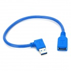 CY U3-036 Right Angle USB 3.0 Type-A Male to Female Extender Cable for Apple MacBook Retina - Blue