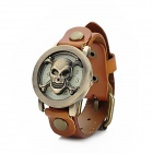 Skull Style Flip-Open PU Leather Band Analog Quartz Wrist Watch - Orange + Bronze