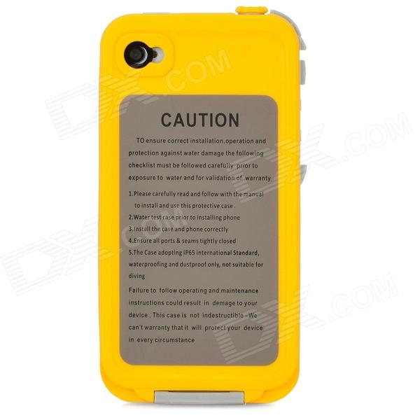 IH133 Ultra-slim Waterproof Protective Plastic Case For Iphone 4 / 4S - Yellow + Grey roswheel tpu waterproof bicycle mobile phone bag w plastic case for iphone 4 4s light coffee