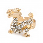 Dragon Style Lady's Aluminum Alloy + Rhinestone Ring - Golden