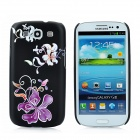 IPSKY Flowers Pattern with Rhinestone Protective PC Back Case for Samsung i9300 - Black