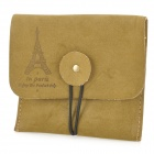 YSDX-576 Eiffel Tower Pattern Suede Leather Purse w/ Buckle - Brown