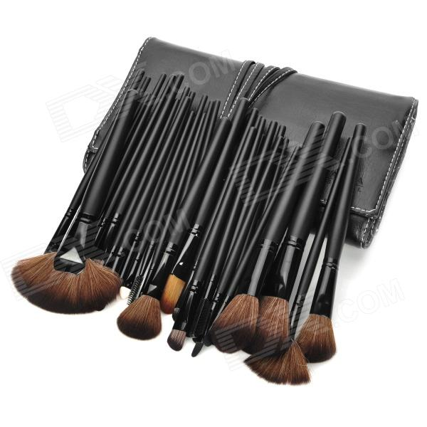 MEGAGA 419-2# Professional 32-in-1 Cosmetic Makeup Brush Set w/ PU Case - Black 8pcs beauty makeup brushes set eyeshadow blending brush powder foundation eyebrow lip cosmetic make up tools pincel maquiagem