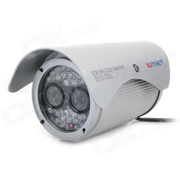 "TS-8010S-YS Waterproof Dual 1/3"" CCD Surveillance Security Camera w/ 30-LED IR Night Vision - Silver"