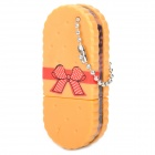 ZX-1213 Cute Retro Sandwich Biscuit Wafer Ballpoint Pen w/ Keyring - Yellow