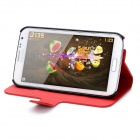 Protective PU Flip-Open Case w/ Card Slot + Magnet for Samsung N7100 - Deep Red
