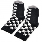 Fashionable Geometric Pattern Man's Deodorant Socks - Black + White + Grey (Pair)