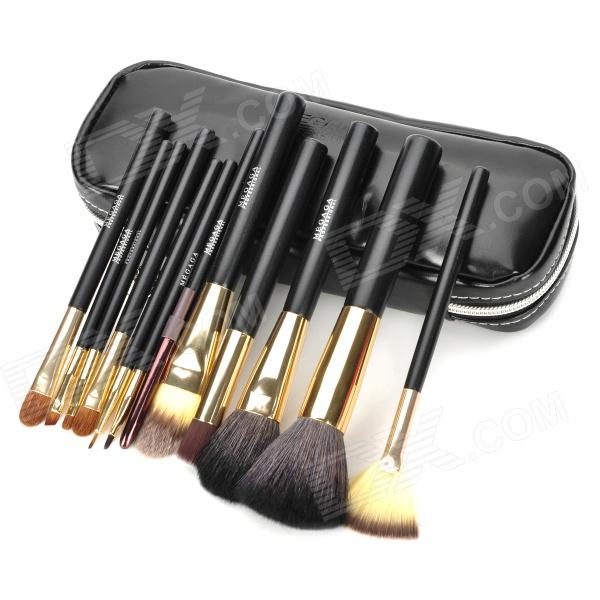 MEGAGA 104-2# Professional 12-in-1 Cosmetic Makeup Brush Set w/ PU Case - Black