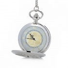 Flower Shape Stainless Steel Alloy Quartz Analog Waterproof Skeleton Pocket Watch - Silver