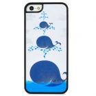 Dolphin Spray Style Protective Plastic Back Case for Iphone 5 - White + Blue + Black