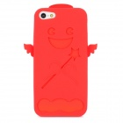 Creative Angel Style Protective Soft Silicone Back Case w/ Screen Protector Film for Iphone 5 - Red